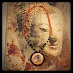 """Antique Button Pendant Necklace Antique necklace with button pendant. Handmade with the following materials: button, beads, and triple layer copper chain. Clasp closure. Necklace measures 16"""" in length. Button pendant is 2"""" in diameter. Boutique Jewelry Necklaces"""
