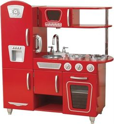 Kidkraft Vintage Red Kitchen (bought it for my twins -- so much nicer than plastic! Pink Play Kitchen, Toy Kitchen, Kitchen Sets, Pretend Kitchen, Mini Kitchen, Kitchen Things, Repurposed Furniture, Kids Furniture, Kitchens