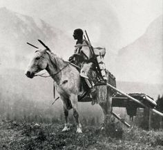 Женщина Черноногих верхом, с травуа. Монтана, 19-20 век. University of Montana-Missoula. Mansfield Library.