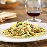 Fettuccine with Peas and Bacon by Lou Tommasini