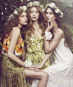 Magazine: Elle Denmark, April 2011 Editorial: 'Flower Girls' Models: Solveig Mørk Hansen, Maria Palm Lyduch, Julie Rhode Photography: Signe Vilstrup via ZAC