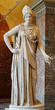 Athena: Athena is een van de voornaamste godinnen uit het Griekse pantheon. Zij is de godin van de hemel, en wel van de heldere, klare hemel, van de reine, zuivere bovenlucht. Zij is vooral bekend als de godin van de wijsheid en godin van de kunst. Daarnaast wordt ze vaak genoemd als godin van de krijgskunst en vrede. Ook de mythen, duiden Athena haar aan als een godin, die een geweldige macht bezit over alle verschijnselen van de hemel, maar tevens als een liefelijke godin.