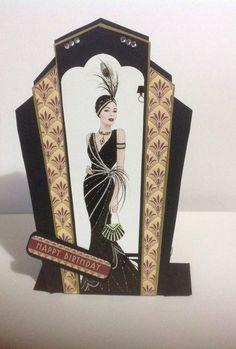 Loving this design Art Deco Pictures, Art Deco Cards, Art Eras, Gatsby, Greeting Cards, Christmas, Crafts, Design, Xmas