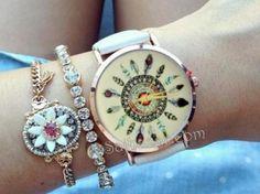 Zegarek skórzany złoty łapacz snów pióra aztec 2KO