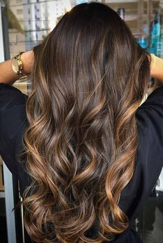30 Great Highlighted Hair for Brunettes ❤ Warm Tones on Dark Brown Hair picture2 ❤ See more: http://lovehairstyles.com/highlighted-hair-for-brunettes/Highlighted hair is really glamorous whether it is ombre, sombre, or balayage. We have collected ideas of brunette hair with highlights.