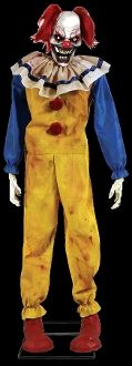 Scary twisted clown prowling the carnival for his next victim! Evil dead circus clown spooky animated prop with creepy light-up eyes plugs into any outlet. Body rotates, arms flop, head swings, mouth moves. Realistic undead zombie! STEP-HERE PAD. http://www.horror-hall.com/Life-Size-Animated-TWITCHING-ZOMBIE-CLOWN-Standing-Carnival-Prop-HH-MR-124395.htm