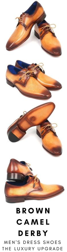 Mens dress shoe in brown camel Derby by Paul Parkman. Luxury mens handmade dress shoes, formal shoes, business shoes for any occasion. These shoes come in multiple sizes. They are hand-painted with care by expert shoemakers. #mensdressshoes #dressshoes #shoes #mensfashion #socks #laces #handmade #bestshoes #luxuryshoes #businessshoes #formalshoes