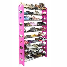 The shoe goddess is singing!! Home Basics 50 Pair Shoe Rack In Pink - Beyond the Rack