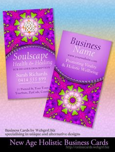 Soundscape Health & Healing New Age w/ Logo space, customizable Business Cards | designs by Webgrrl #pink #purple