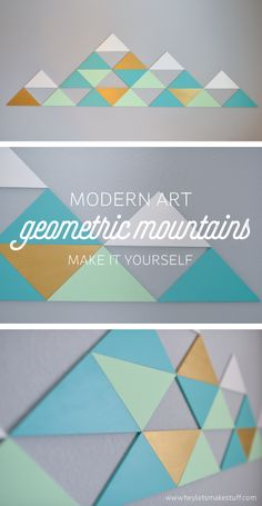 Using MDF triangles, easily make these geometric mountains in whatever color combination you'd like! Perfect for filling up large walls -- it's nearly six feet across! #TriplePFeature