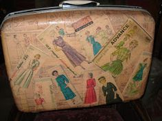Vintage Sewing Patterns decoupage with simplicity patterns - would love to do this in the craft room with an old dresser! Vintage Train Case, Vintage Mom, Vintage Crafts, Decoupage Suitcase, Decoupage Furniture, Decoupage Art, Plywood Furniture, Sewing Room Decor, Sewing Rooms