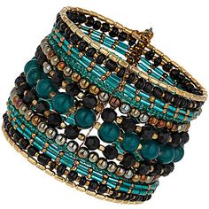 Mixed Beaded Cuff Bracelet ($12) ❤ liked on Polyvore
