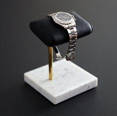 The Watch Stand / Display - Marble & Italian Leather Marble Watch, Simple Watches, The Time Machine, Patek Philippe, Watch Brands, Italian Leather, Luxury, Silver, Gold