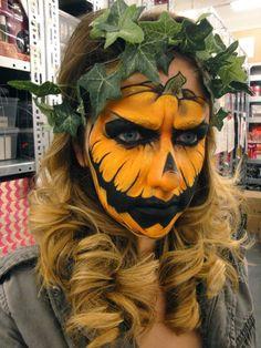 Creepy Costumes Make pumpkin costume yourself Costume idea for carnival, Halloween & carnival Roman Halloween Tags, Disney Halloween, Halloween Pumpkin Makeup, Pumpkin Costume, Halloween Makeup Looks, Halloween Season, Scary Halloween, Halloween Pumpkins, Halloween Make Up