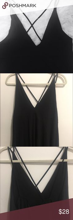💥 Urban Outfitters Black Criss Cross Bank Tank never worn! really cute black tank with a criss crossed back and a deep v neck! cute double strap Urban Outfitters Tops Tank Tops