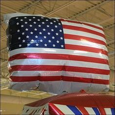 Maybe it's me, but the square flag-like shape results in the title of this American Flag Patriotic Inflatable Merchandising post. Somehow these foil cubes Store Fixtures, Cool Things To Make, American Flag, Balloons, Retail, Cool Stuff To Make, Cool Things To Do, American Fl, Retail Merchandising