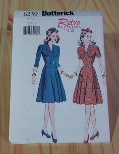 "1940s Style War-Time Dress Sewing Pattern ""Retro '42 Butterick 6239"" Uncut"