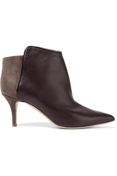 MALONE SOULIERS Doreen leather-paneled suede ankle boots. #malonesouliers #shoes #boots