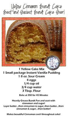 yellow cinnamon bunt cake!!- Yummy and moist! We ate it for breakfa