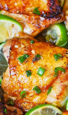 Pan-Roasted Honey Lime Chicken Thighs – easy, delicious, super-flavorful chicken! #LGLimitlessDesign & #Contest