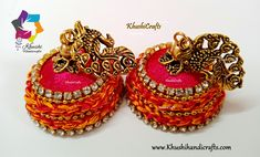 Peacock Pink Silk Thread Jhumkas with crochet work! Silk Thread Jhumkas, Silk Thread Earrings, Thread Jewellery, Jewelry, Beaded Necklace Patterns, Crochet Earrings, Thread Crochet, Pink Silk, Bead Caps