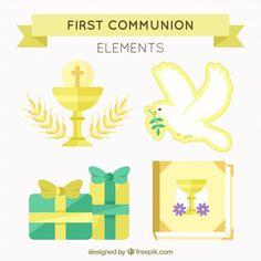 Pack de elementos dorados de primera comunión  Vector Gratis