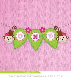 Jungle Birthday Banner Jungle High Chair Banner by CreativeTouchhh 1st Birthday Banners, Birthday Decorations, Gift Table Signs, Monkey Girl, Monkey Birthday, Bunting Flags, Girl Themes, High Chair Banner, Baby Shower