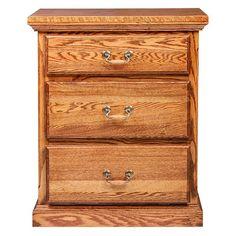 Forest Designs 3 Drawer Nightstand with Drawer Pulls, Chestnut Oak Cherry Dresser, 3 Drawer Nightstand, Nightstands, Sherwin Williams Stain, Chestnut Oak, Trim Carpentry, Oak Bedroom, Gera