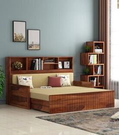 Bedroom Furniture Online, Living Room Furniture, Wooden Furniture, Sofa Bed For Small Spaces, Bookshelf Bed, Wooden King Size Bed, Sofa Bed Design, Wooden Street, Bed Dimensions