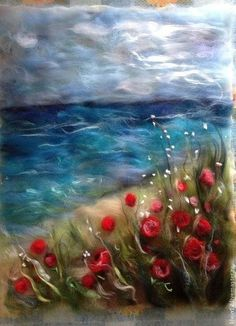 """Pictures of handmade flowers. Buy """"May in Crimea"""" Wool watercolor. Wet Felting Projects, Needle Felting Tutorials, Felt Projects, Felt Fabric, Fabric Art, Bordado Popular, Felt Wall Hanging, Felt Pictures, Felt Embroidery"""