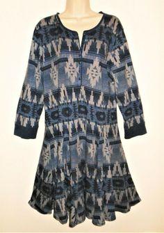 3f0ebfdf9c386 Details about Womens Plus Size Lane Bryant Blue Knit Print Dress 18 20W 2X