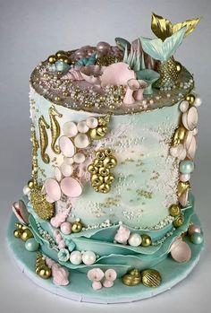 Little Mermaid Cakes, Mermaid Birthday Cakes, Beautiful Birthday Cakes, My Birthday Cake, Beautiful Cake Designs, Beautiful Cakes, Amazing Cakes, Ocean Cakes, Beach Cakes