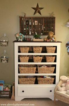 An old dresser brought to life - Reagan you could do something similar with your tv cabinet.