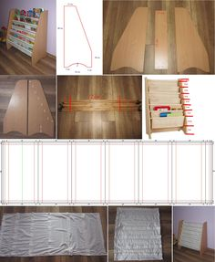 Picture of how to build a fabric sling bookcase Bookshelves Kids, Fabric Bookshelf, Bookcases, Diy Wood Projects, Woodworking Projects, Woodworking Furniture, Diy Deco Rangement, Book Sling, Home Furniture