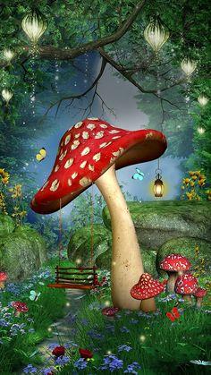 Mushroom Crafts, Mushroom Decor, Mushroom Art, Mushroom Wallpaper, Fairy Wallpaper, Cute Pastel Wallpaper, Artwork Images, Stuff And Thangs, Cellphone Wallpaper