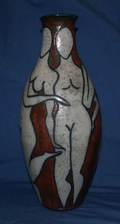 ART MODERNE POTTERY VASE WITH NUDES ARTIST SIGNED