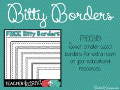 """FREE Bitty Borders for Teachers   Hey y'all! Jen Bradshaw here fromTeacherKARMA.com  We all know that teachers LOVE clipart... right? I know that I sure do! Do you need new borders to liven up your educational resources? Grab these FREE Bitty Borders. They are little bitty borders that will leave your resources with plenty of room for the """"good stuff"""".  Best wishes!  Jen Bradshaw  borders borders for teachers classroom clipart classroom graphics clipart frames graphics teacher borders…"""