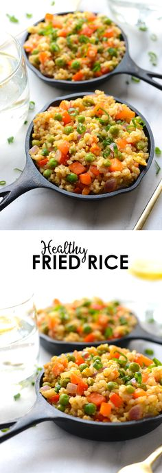 This healthy vegetarian fried rice recipe is made with short grain brown rice, tons of veggies, and a protein-boost of egg for a delicious Asian-inspired meal! I'm so making this for dinner! Maybe add a salad or soup on the side? Healthy Fried Rice, Vegetarian Fried Rice, Vegetarian Recipes Easy, Healthy Recipes, Savoury Recipes, Healthy Foods, Healthy Chinese Food Options, Short Grain Brown Rice, Brown Rice Recipes