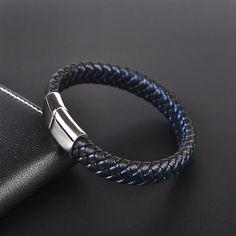 Black Blue Braided Leather Bracelet for Men Bracelets For Boyfriend, Mens Gold Bracelets, Black Bracelets, Braided Bracelets, Metal Bracelets, Fashion Bracelets, Simple Bracelets, Diamond Bracelets, Braided Leather