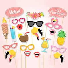 Tinksky Flamingo Hawaii Themed Summer Party Photo Booth Props Kit Luau Party Supplies for Holiday Wedding Party Favors Luau Photo Booths, Photo Booth Party Props, Diy Photo Booth, Hawaiian Photo Booth, Beach Photo Props, Props Photobooth, Hawaiian Party Decorations, Diy Party Decorations, Wedding Decoration