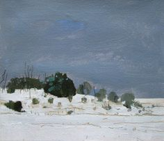 Ice Day, Lost Dog Hill, Original Landscape Painting on Paper, Stooshinoff
