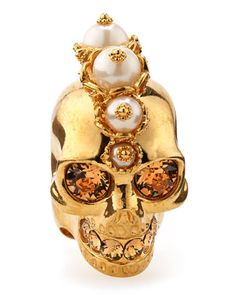 Punk Skull Pearl Ring, Golden by Alexander McQueen at Bergdorf Goodman.