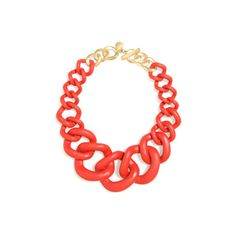 Chunky Links Statement Necklace Fiesta ($78) ❤ liked on Polyvore featuring jewelry, necklaces, long red necklace, long chunky necklaces, statement necklace, resin jewelry and chunk jewelry