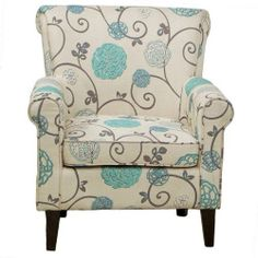 Elegant Traditional Floral Print Design Linen Upholstered Club Arm Accent Chair