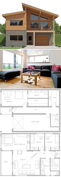 Modern Home Plans, Hillside House Plans New House Plans, Modern House Plans, Small House Plans, House Floor Plans, Small Floor Plans, Modern Home Design, Modern Homes, Interior Modern, Interior Design