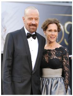 Robin Dearden ( in Vannabella design French lace top and full maxi satin skirt ) with  Bryan Cranston at OSCAR 2013.