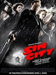 Official theatrical movie poster ( of for Sin City Starring Bruce Willis, Mickey Rourke, Clive Owen, Jessica Alba Mickey Rourke, Frank Miller, Bruce Willis, Quentin Tarantino, Sin City Film, Movies Showing, Movies And Tv Shows, Peliculas Audio Latino Online, Film Noir