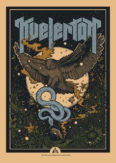 Illustration and silkscreen poster for KVELERTAK. Hardwired tour 2018 with METALLICA
