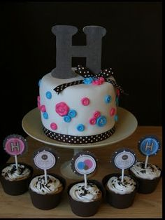 "Twin baby shower cake/coordinating cupcakes.  ""Cute as a Button"" theme"