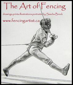 fencing and fencers artwork depicting the sport of fencing by fencingartist ~ www.fencingartist.ca ~ men's sabre